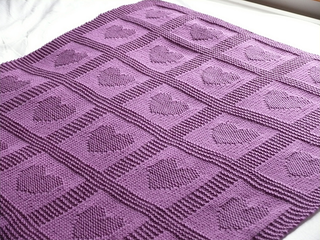 6 Heart Baby Blanket Knitting Pattern - The Funky Stitch