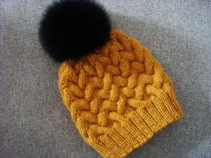 yellow cable knit hat pattern