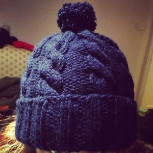 dark blue cable knit hat pattern