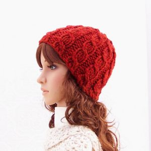 red cable knit hat pattern