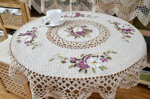 flower lace crochet tablecloth pattern