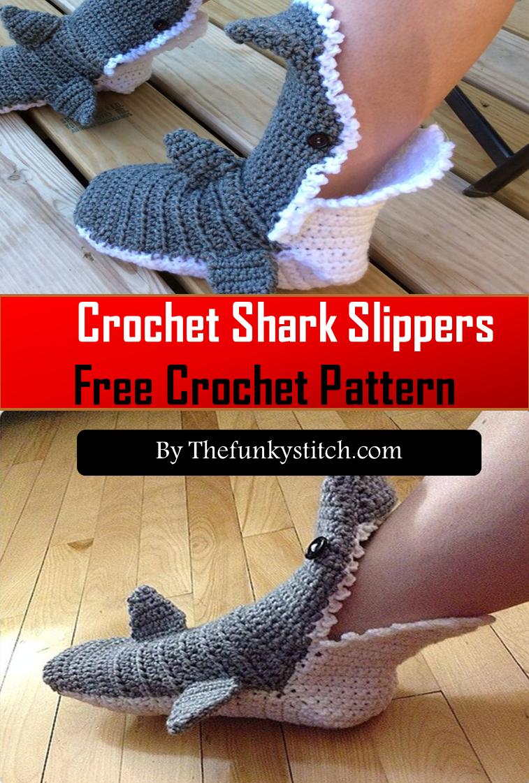 15 Crochet Shark Slippers The Funky Stitch