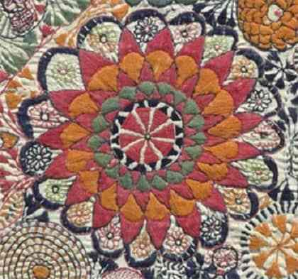 Kantha Embroidered Quilt with Motif