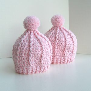 light pink girly cable knit hat pattern