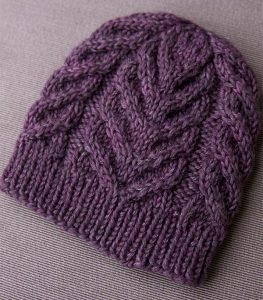chunky purple cable knit hat pattern